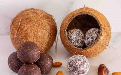 Bolitas energéticas sin azúcar, de cacao y coco